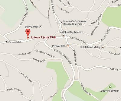 Kontakty a mapy - Apartmány ANTIK Pratterov dom, Banská Štiavnica